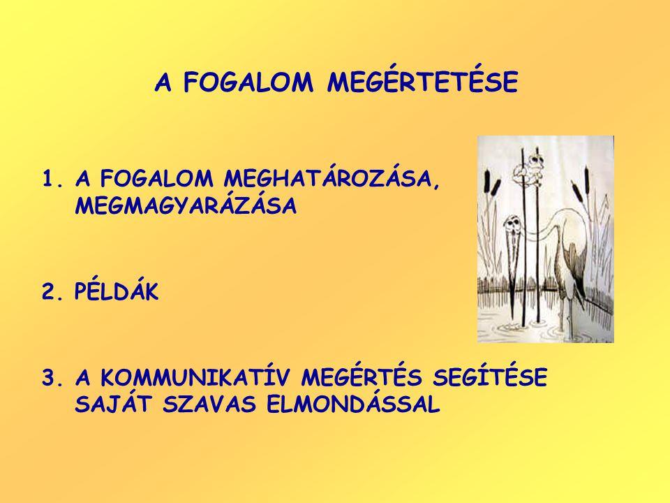 A FOGALOM MEGÉRTETÉSE 1.A FOGALOM MEGHATÁROZÁSA, MEGMAGYARÁZÁSA 2.PÉLDÁK 3.A KOMMUNIKATÍV MEGÉRTÉS SEGÍTÉSE SAJÁT SZAVAS ELMONDÁSSAL