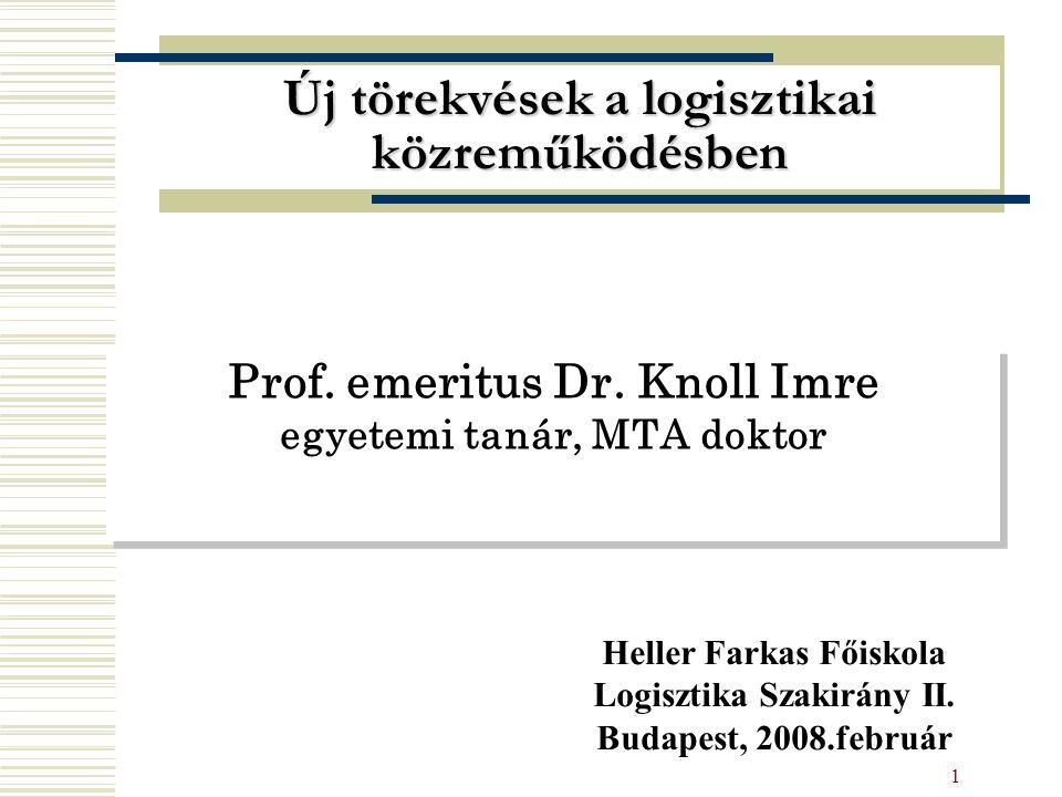 1 Prof. emeritus Dr. Knoll Imre egyetemi tanár, MTA doktor Új törekvések a logisztikai közreműködésben Heller Farkas Főiskola Logisztika Szakirány II.