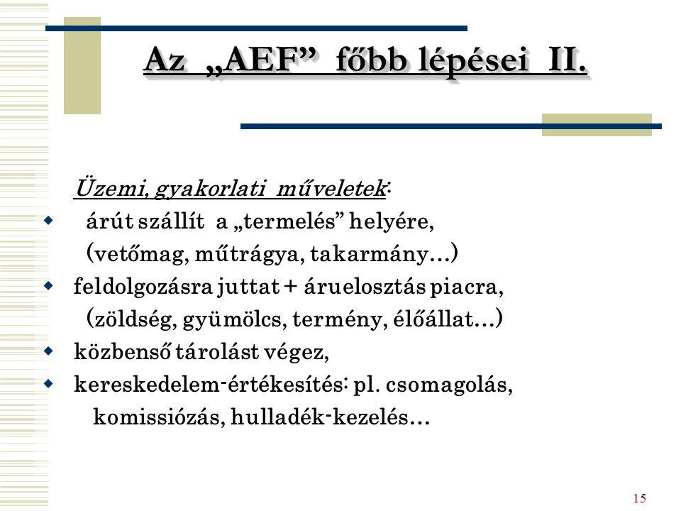 """15 Az """"AEF"""" főbb lépései II. Üzemi, gyakorlati műveletek:  árút szállít a """"termelés"""" helyére, (vetőmag, műtrágya, takarmány…)  feldolgozásra juttat"""