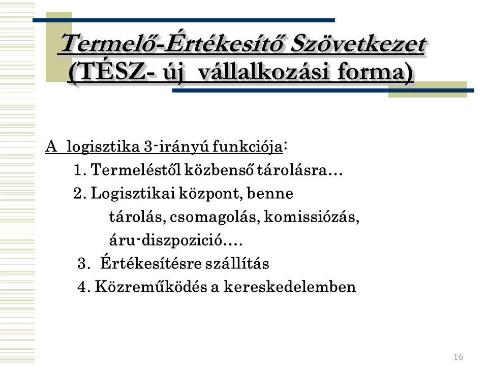 16 Termelő-Értékesítő Szövetkezet (TÉSZ- új vállalkozási forma) A logisztika 3-irányú funkciója: 1.