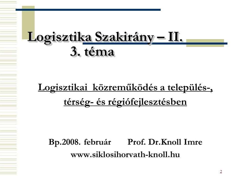 2 Logisztika Szakirány – II. 3. téma Logisztikai közreműködés a település-, térség- és régiófejlesztésben Bp.2008. február Prof. Dr.Knoll Imre www.sik