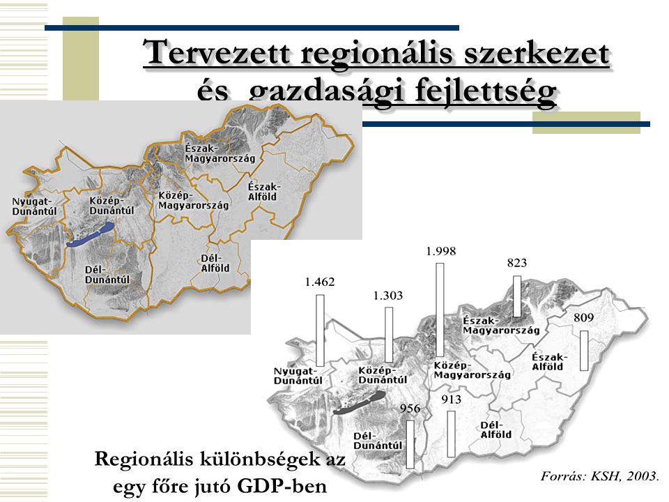 4 Tervezett regionális szerkezet és gazdasági fejlettség Regionális különbségek az egy főre jutó GDP-ben