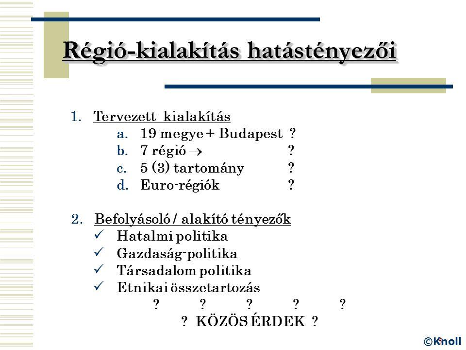 5 Régió-kialakítás hatástényezői 1.Tervezett kialakítás a.19 megye + Budapest ? b.7 régió  ? c.5 (3) tartomány ? d.Euro-régiók ? 2. Befolyásoló / ala