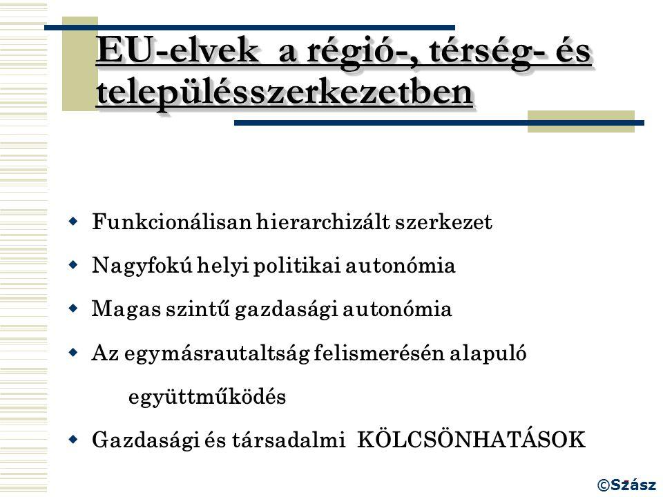 7 EU-elvek a régió-, térség- és településszerkezetben  Funkcionálisan hierarchizált szerkezet  Nagyfokú helyi politikai autonómia  Magas szintű gaz