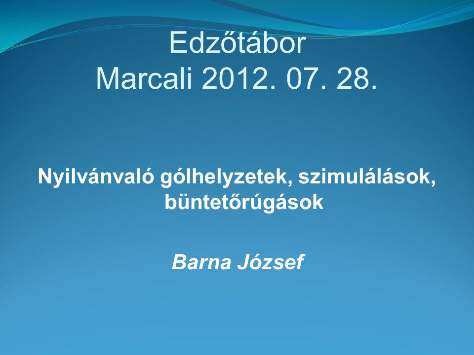 Edzőtábor Marcali 2012. 07. 28. Nyilvánvaló gólhelyzetek, szimulálások, büntetőrúgások Barna József