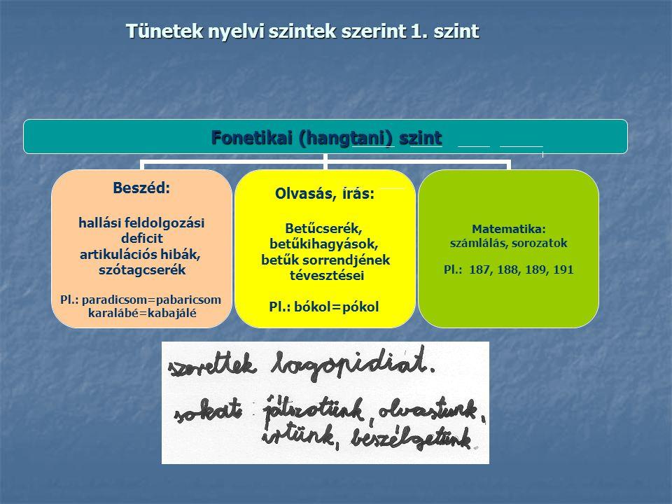 Tünetek nyelvi szintek szerint 1. szint