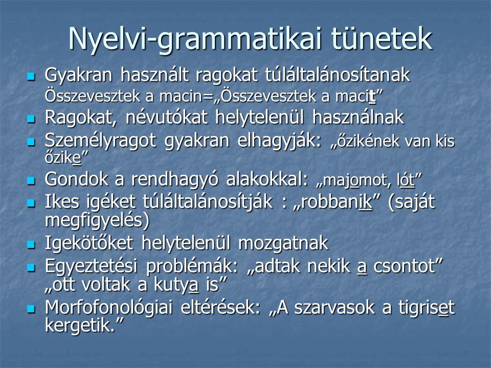 """Nyelvi-grammatikai tünetek Gyakran használt ragokat túláltalánosítanak Gyakran használt ragokat túláltalánosítanak Összevesztek a macin=""""Összevesztek"""