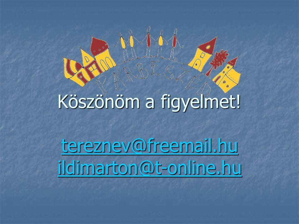 Köszönöm a figyelmet! tereznev@freemail.hu ildimarton@t-online.hu
