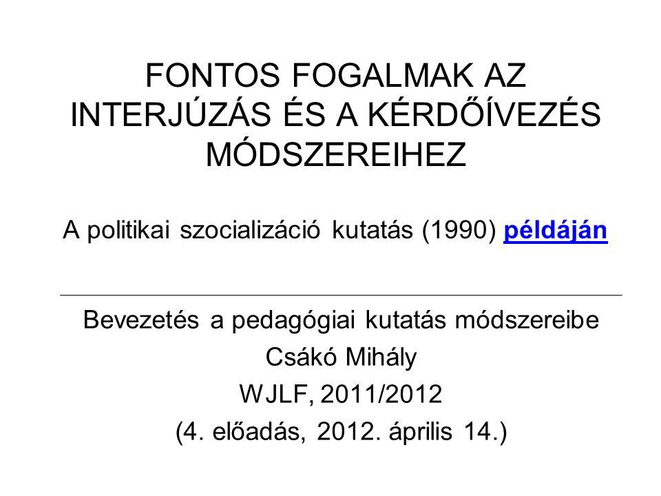 FONTOS FOGALMAK AZ INTERJÚZÁS ÉS A KÉRDŐÍVEZÉS MÓDSZEREIHEZ A politikai szocializáció kutatás (1990) példáján Bevezetés a pedagógiai kutatás módszereibe Csákó Mihály WJLF, 2011/2012 (4.