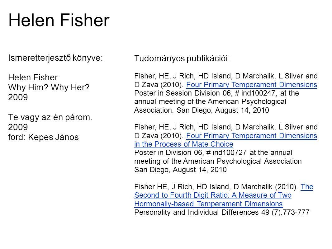 Helen Fisher Ismeretterjesztő könyve: Helen Fisher Why Him? Why Her? 2009 Te vagy az én párom. 2009 ford: Kepes János Tudományos publikációi: Fisher,