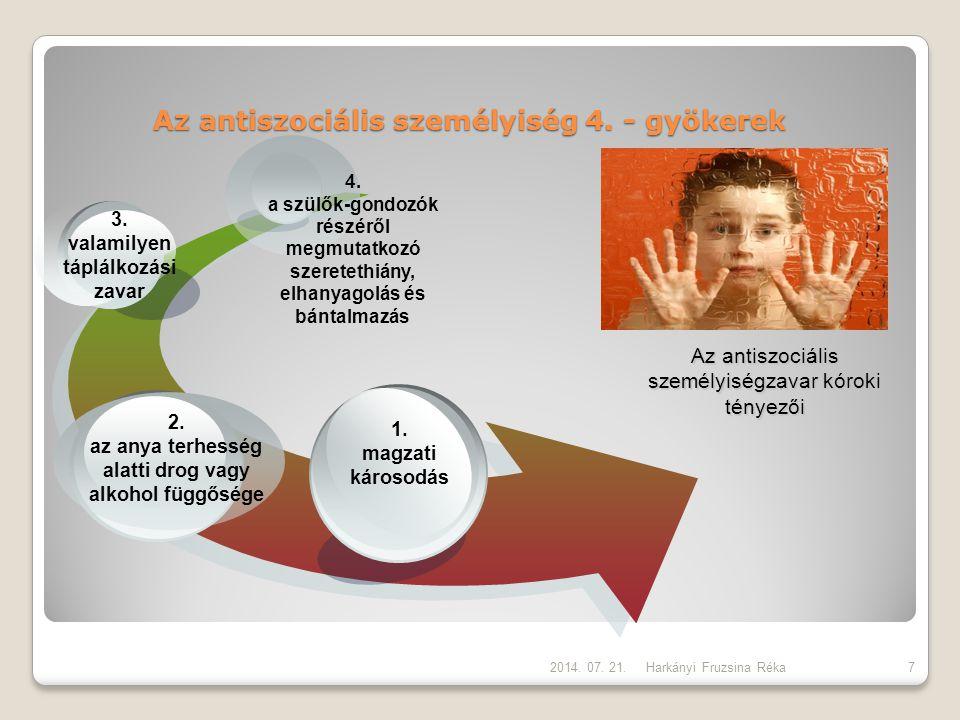 Az antiszociális személyiség 4. - gyökerek Harkányi Fruzsina Réka Az antiszociális személyiségzavar kóroki tényezői 1. magzati károsodás 2. az anya te
