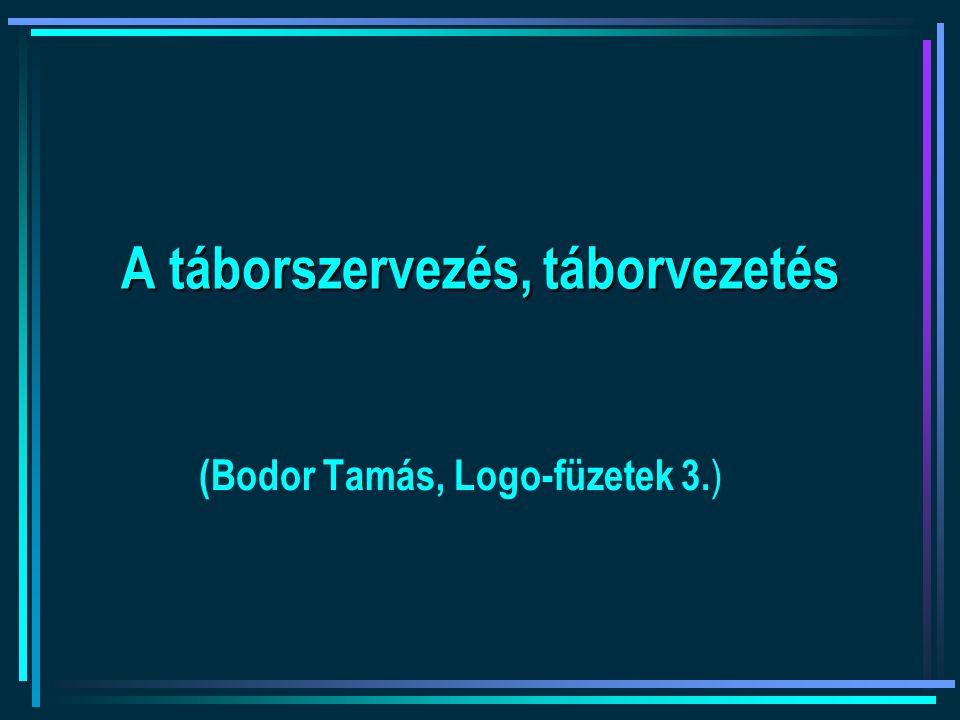 A táborszervezés, táborvezetés (Bodor Tamás, Logo-füzetek 3. )
