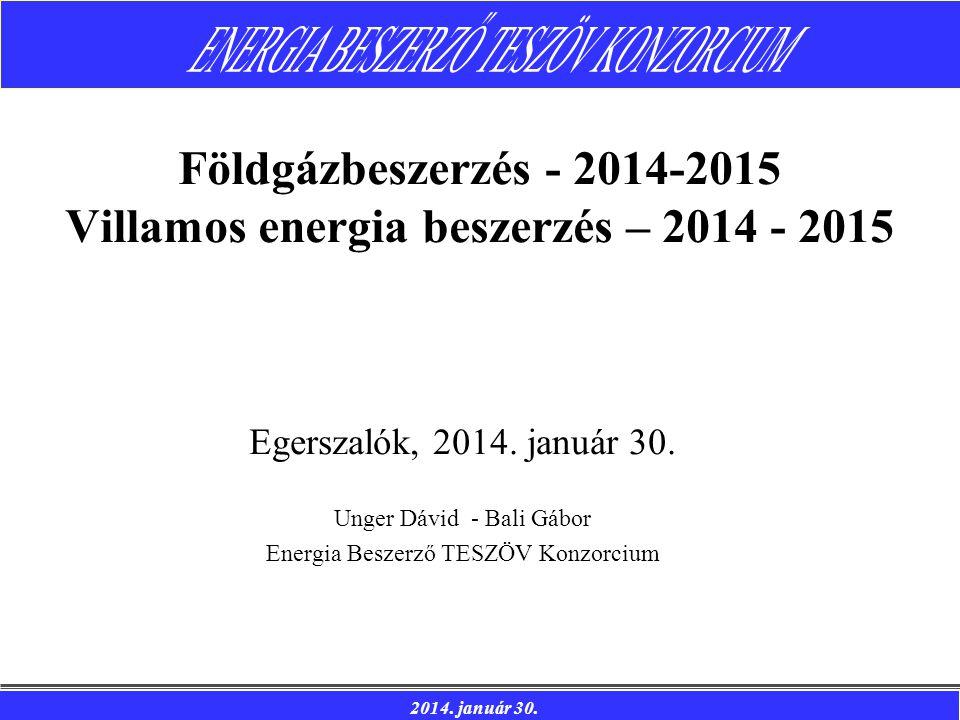 2014. január 30. Egerszalók, 2014. január 30. Unger Dávid - Bali Gábor Energia Beszerző TESZÖV Konzorcium Földgázbeszerzés - 2014-2015 Villamos energi