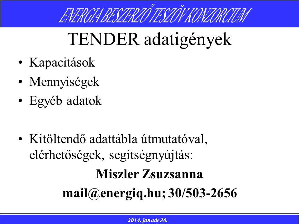 2014. január 30. TENDER adatigények Kapacitások Mennyiségek Egyéb adatok Kitöltendő adattábla útmutatóval, elérhetőségek, segítségnyújtás: Miszler Zsu