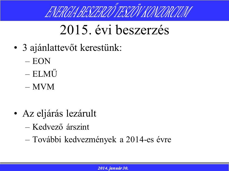 2014. január 30. 2015. évi beszerzés 3 ajánlattevőt kerestünk: –EON –ELMŰ –MVM Az eljárás lezárult –Kedvező árszint –További kedvezmények a 2014-es év