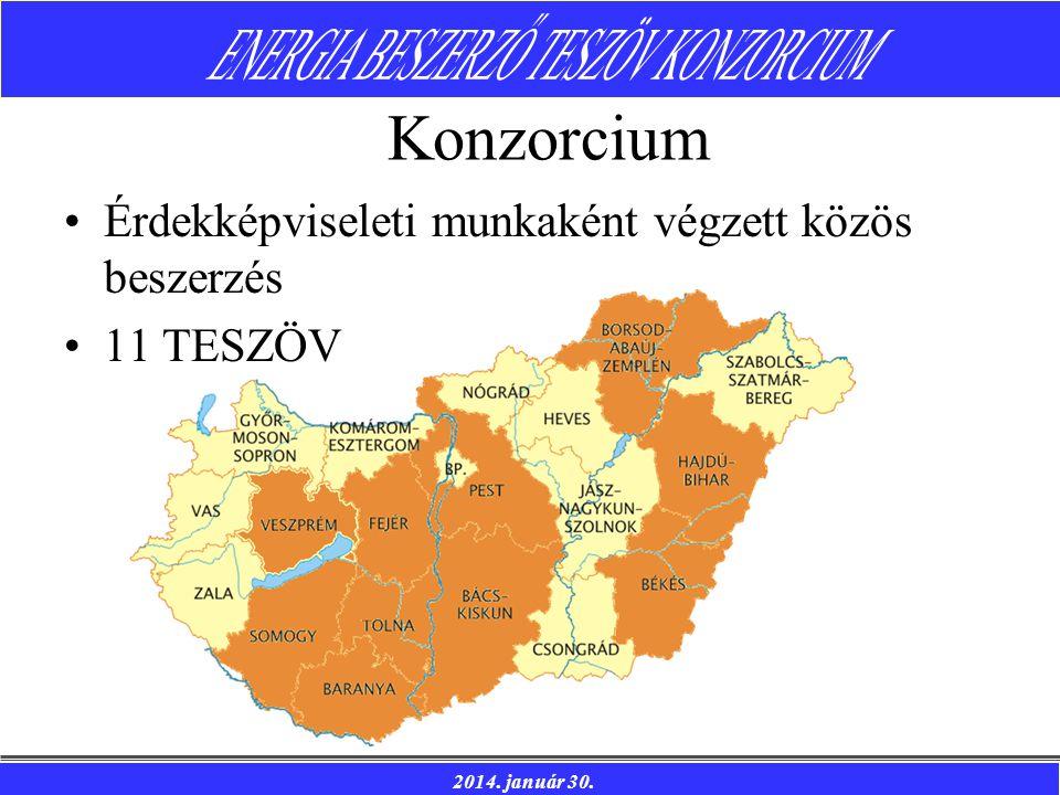 2014. január 30. Konzorcium Érdekképviseleti munkaként végzett közös beszerzés 11 TESZÖV