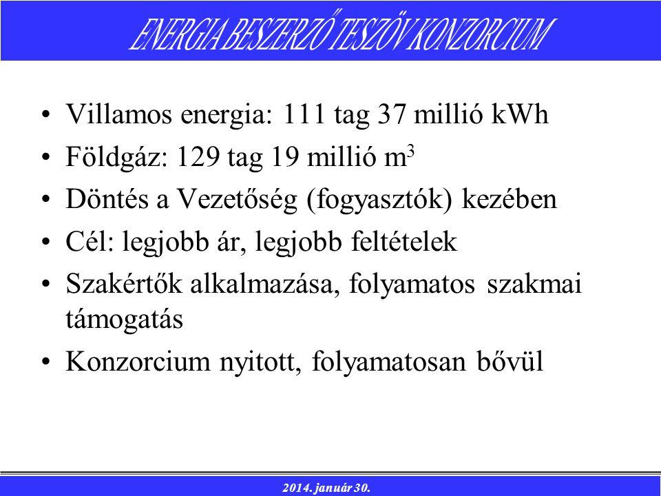 2014. január 30. Villamos energia: 111 tag 37 millió kWh Földgáz: 129 tag 19 millió m 3 Döntés a Vezetőség (fogyasztók) kezében Cél: legjobb ár, legjo