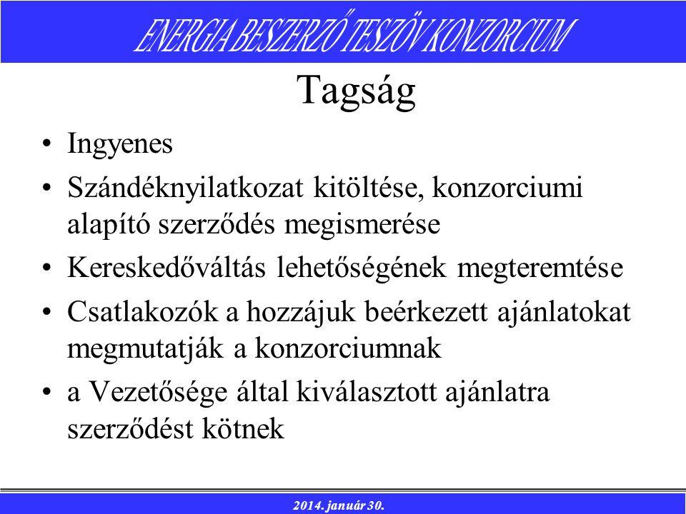 2014. január 30. Tagság Ingyenes Szándéknyilatkozat kitöltése, konzorciumi alapító szerződés megismerése Kereskedőváltás lehetőségének megteremtése Cs