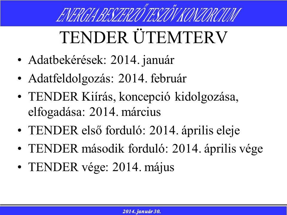 2014. január 30. TENDER ÜTEMTERV Adatbekérések: 2014. január Adatfeldolgozás: 2014. február TENDER Kiírás, koncepció kidolgozása, elfogadása: 2014. má