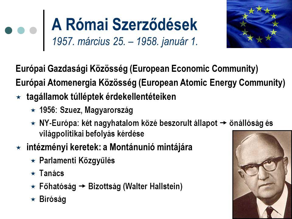 A Római Szerződések 1957. március 25. – 1958. január 1. Európai Gazdasági Közösség (European Economic Community) Európai Atomenergia Közösség (Europea