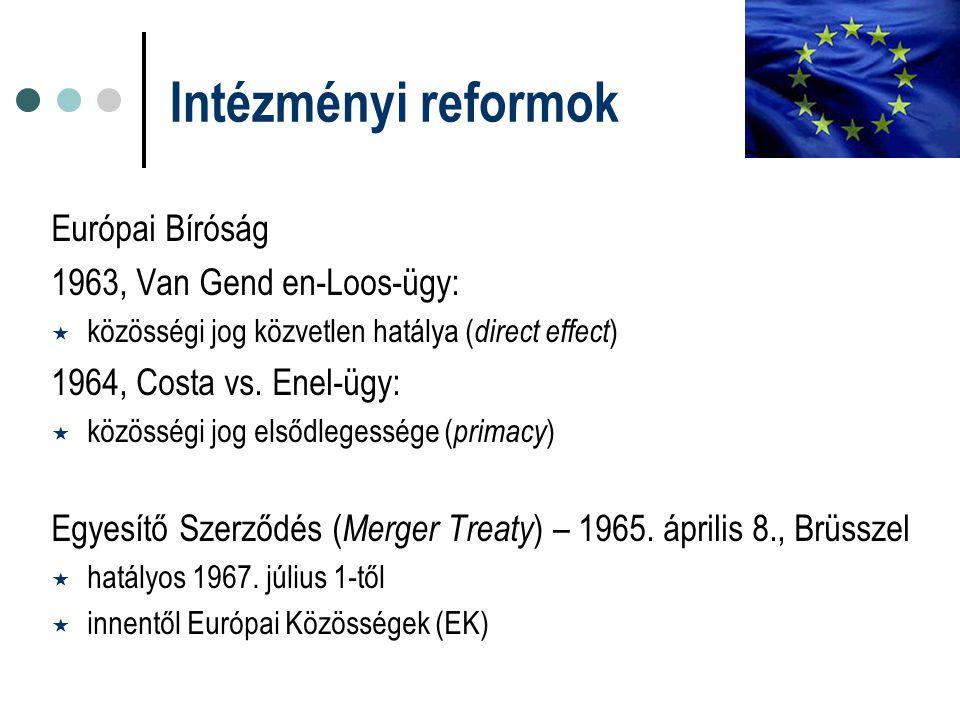 Intézményi reformok Európai Bíróság 1963, Van Gend en-Loos-ügy:  közösségi jog közvetlen hatálya ( direct effect ) 1964, Costa vs. Enel-ügy:  közöss