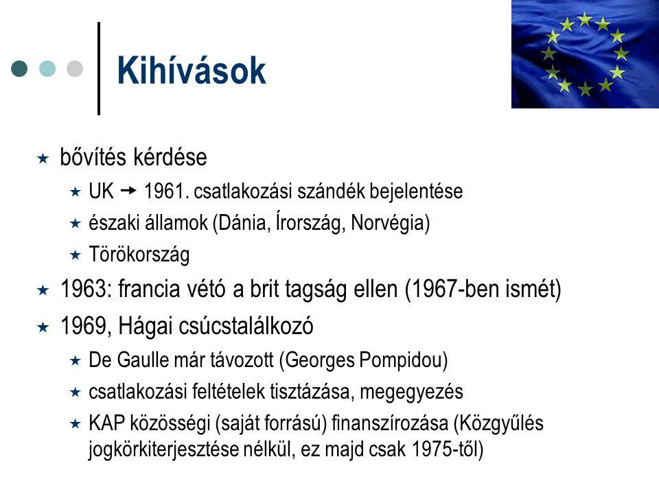 Kihívások  bővítés kérdése  UK  1961. csatlakozási szándék bejelentése  északi államok (Dánia, Írország, Norvégia)  Törökország  1963: francia v