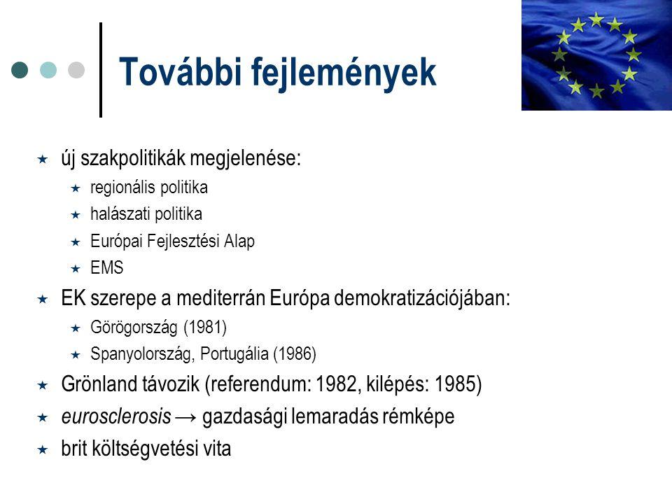 További fejlemények  új szakpolitikák megjelenése:  regionális politika  halászati politika  Európai Fejlesztési Alap  EMS  EK szerepe a mediter