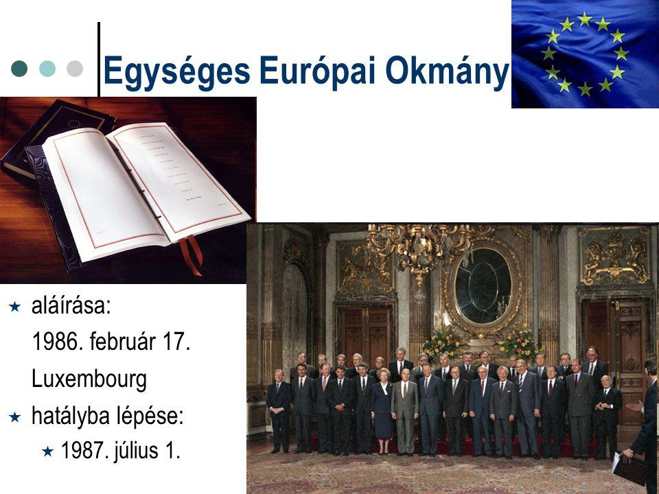 Egységes Európai Okmány  aláírása: 1986. február 17. Luxembourg  hatályba lépése:  1987. július 1.