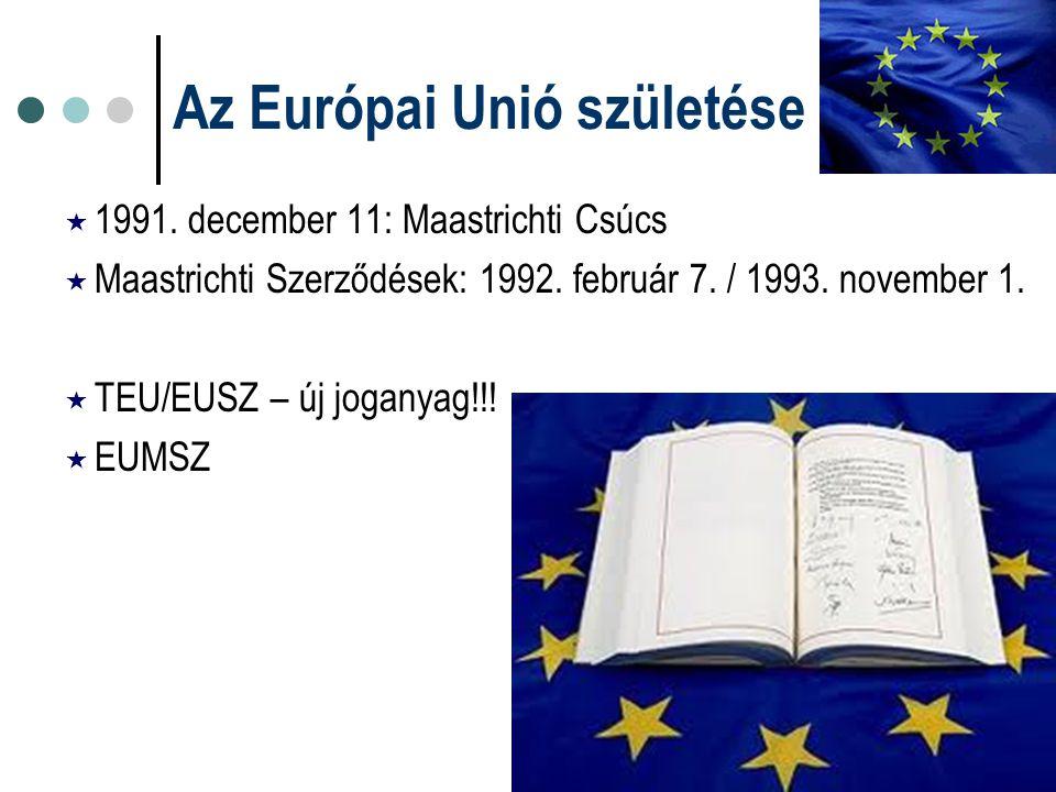 Az Európai Unió születése  1991. december 11: Maastrichti Csúcs  Maastrichti Szerződések: 1992. február 7. / 1993. november 1.  TEU/EUSZ – új jogan