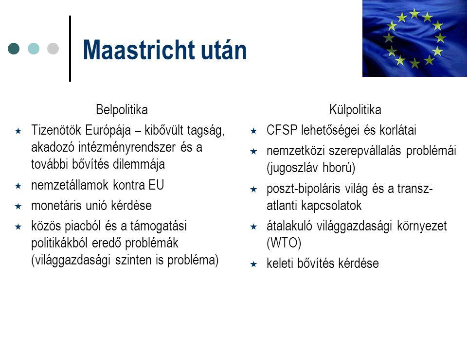 Maastricht után Belpolitika  Tizenötök Európája – kibővült tagság, akadozó intézményrendszer és a további bővítés dilemmája  nemzetállamok kontra EU