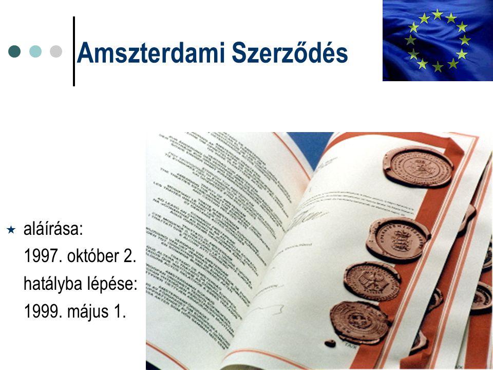 Amszterdami Szerződés  aláírása: 1997. október 2. hatályba lépése: 1999. május 1.