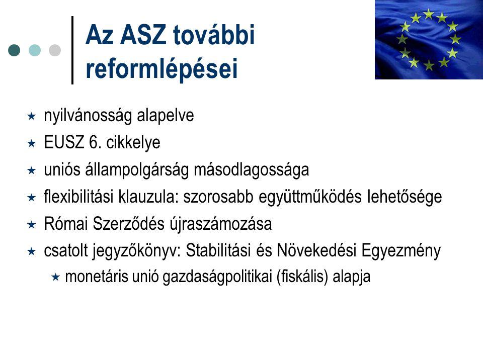 Az ASZ további reformlépései  nyilvánosság alapelve  EUSZ 6. cikkelye  uniós állampolgárság másodlagossága  flexibilitási klauzula: szorosabb együ