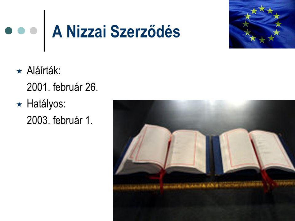 A Nizzai Szerződés  Aláírták: 2001. február 26.  Hatályos: 2003. február 1.