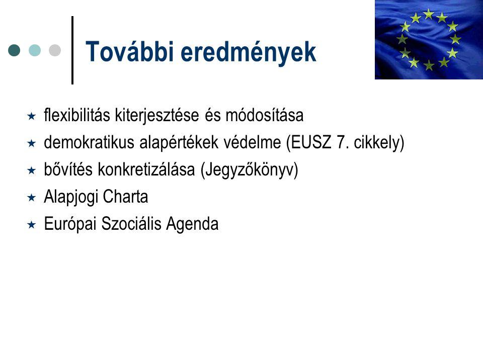 További eredmények  flexibilitás kiterjesztése és módosítása  demokratikus alapértékek védelme (EUSZ 7. cikkely)  bővítés konkretizálása (Jegyzőkön