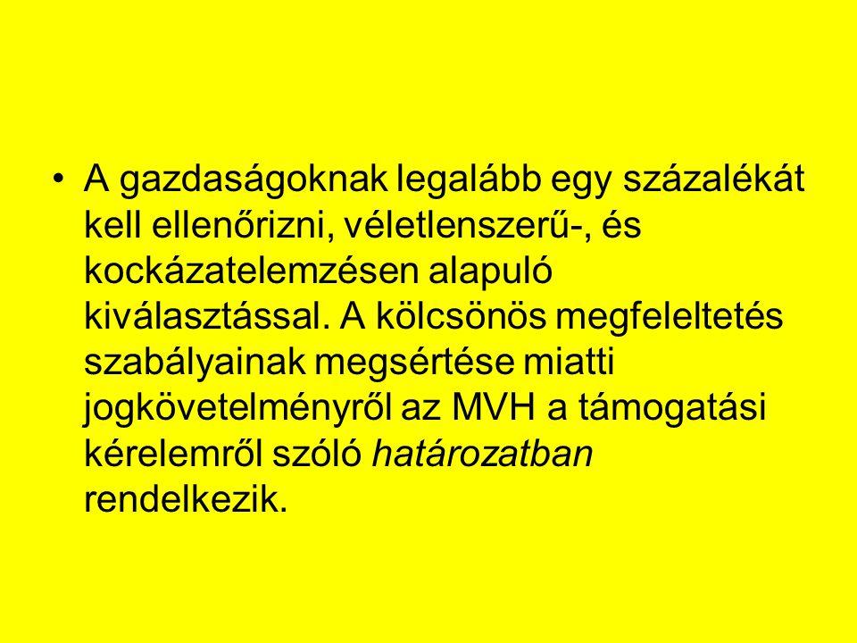 Kölcsönös Megfeleltetés ellenőrzési adatlap tartalma Az ellenőrzést végző hatóság (MgSzH, MVH) megnevezését, Az ellenőrzés tárgyára (Jogszabályban foglalt gazdálkodási követelmények, továbbiakban JFGK sorszáma, ill.