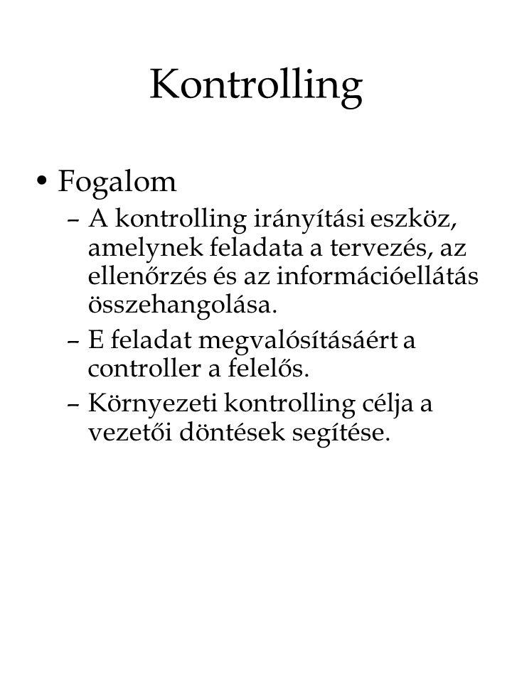 Kontrolling Fogalom –A kontrolling irányítási eszköz, amelynek feladata a tervezés, az ellenőrzés és az információellátás összehangolása. –E feladat m