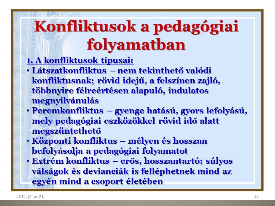 2014. július 21.132014. július 21.13 Konfliktusok a pedagógiai folyamatban 1. A konfliktusok típusai: Látszatkonfliktus – nem tekinthető valódi konfli