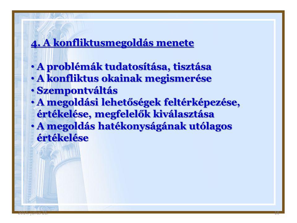 2014. július 21.162014. július 21.16 4. A konfliktusmegoldás menete A problémák tudatosítása, tisztása A problémák tudatosítása, tisztása A konfliktus