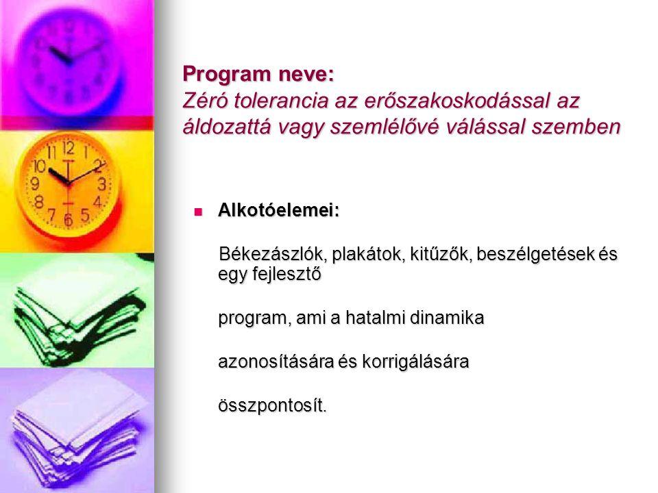 Program neve: Zéró tolerancia az erőszakoskodással az áldozattá vagy szemlélővé válással szemben Alkotóelemei: Alkotóelemei: Békezászlók, plakátok, ki