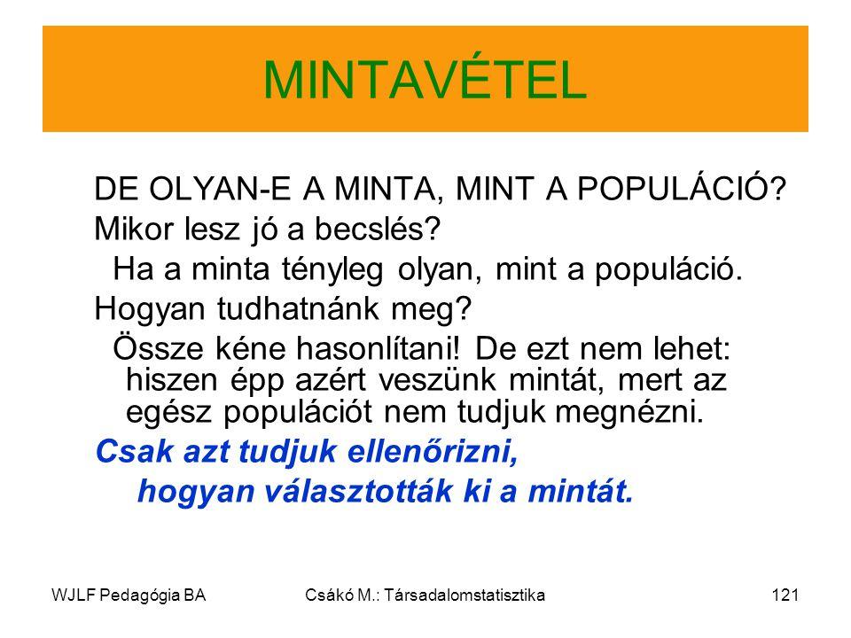 WJLF Pedagógia BACsákó M.: Társadalomstatisztika121 MINTAVÉTEL DE OLYAN-E A MINTA, MINT A POPULÁCIÓ.