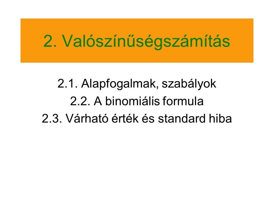2.Valószínűségszámítás 2.1. Alapfogalmak, szabályok 2.2.