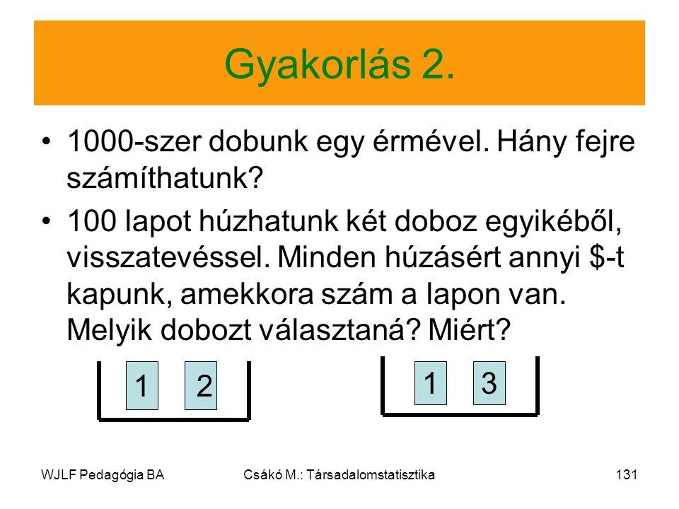 WJLF Pedagógia BACsákó M.: Társadalomstatisztika131 Gyakorlás 2.
