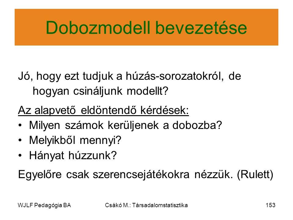 WJLF Pedagógia BACsákó M.: Társadalomstatisztika153 Dobozmodell bevezetése Jó, hogy ezt tudjuk a húzás-sorozatokról, de hogyan csináljunk modellt.