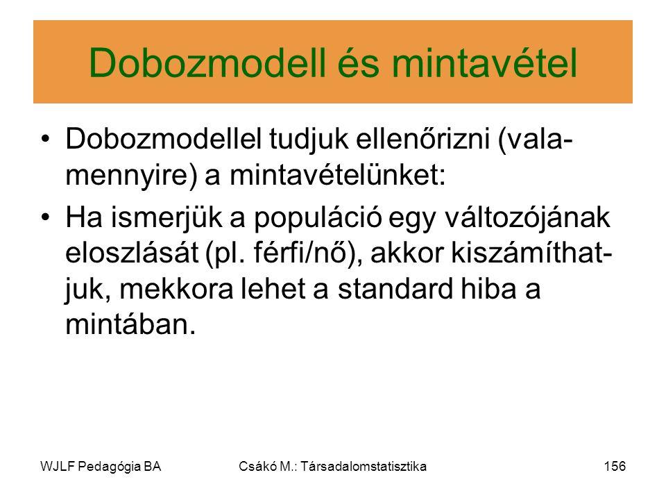 WJLF Pedagógia BACsákó M.: Társadalomstatisztika156 Dobozmodell és mintavétel Dobozmodellel tudjuk ellenőrizni (vala- mennyire) a mintavételünket: Ha ismerjük a populáció egy változójának eloszlását (pl.