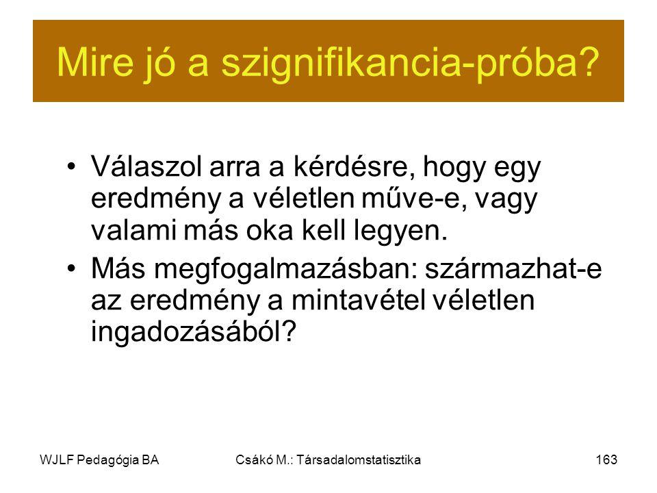 WJLF Pedagógia BACsákó M.: Társadalomstatisztika163 Mire jó a szignifikancia-próba.