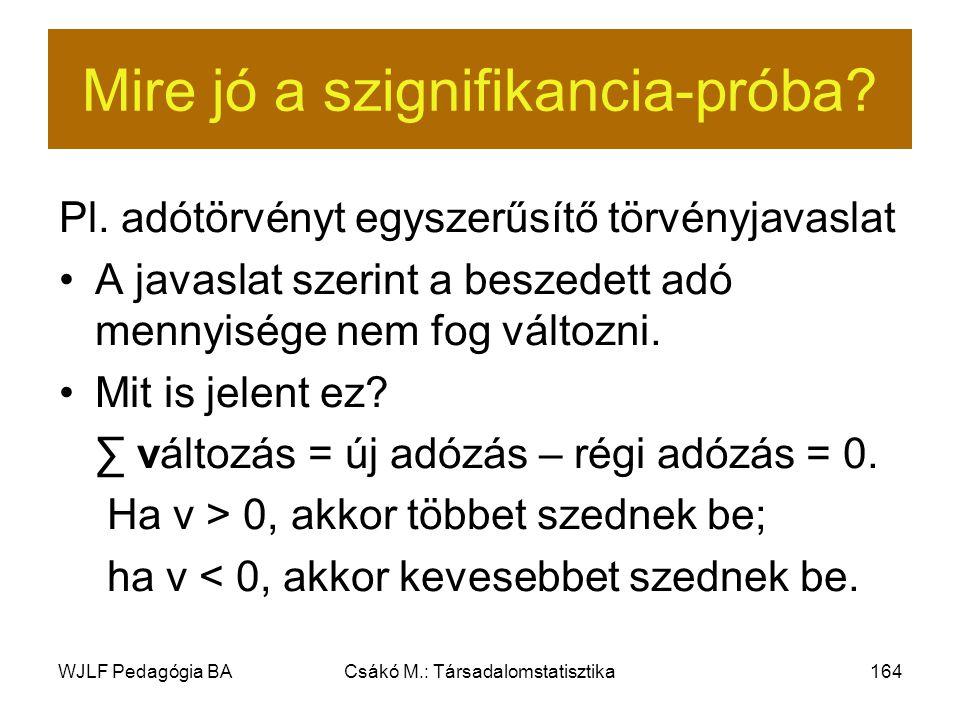 WJLF Pedagógia BACsákó M.: Társadalomstatisztika164 Mire jó a szignifikancia-próba.