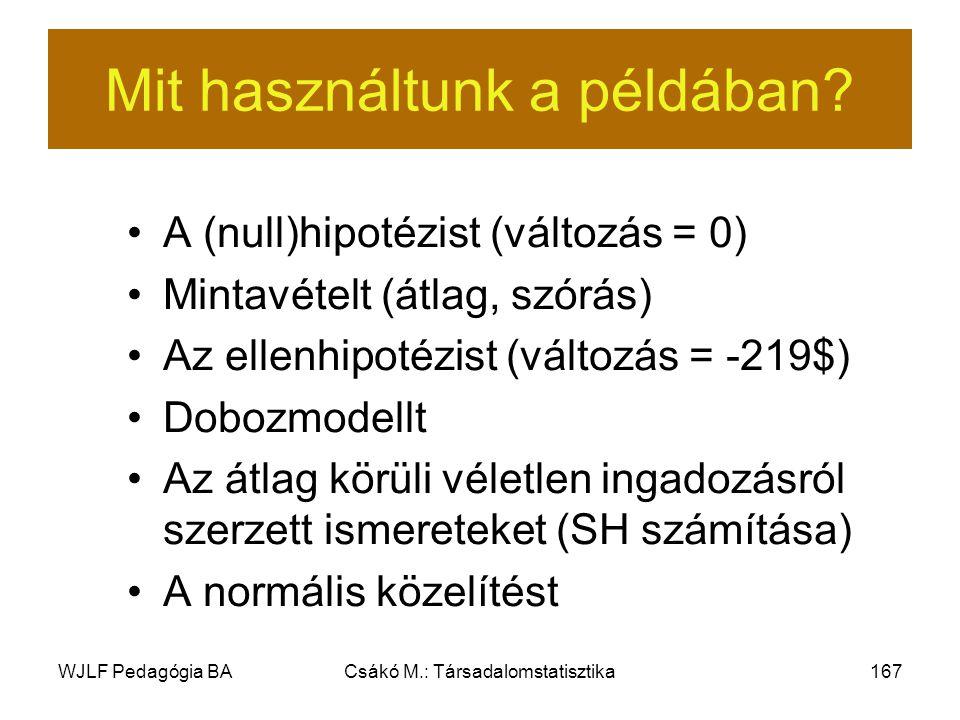 WJLF Pedagógia BACsákó M.: Társadalomstatisztika167 Mit használtunk a példában.