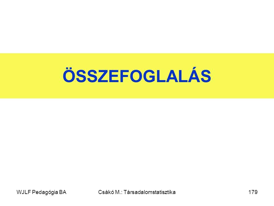 WJLF Pedagógia BACsákó M.: Társadalomstatisztika179 ÖSSZEFOGLALÁS