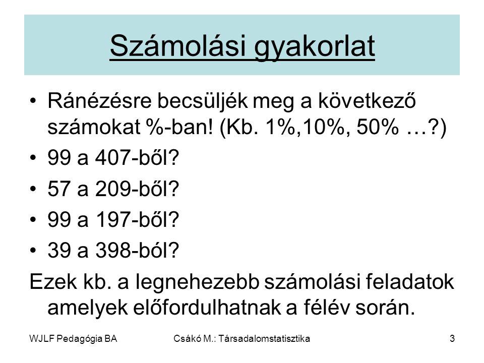 WJLF Pedagógia BACsákó M.: Társadalomstatisztika3 Számolási gyakorlat Ránézésre becsüljék meg a következő számokat %-ban.