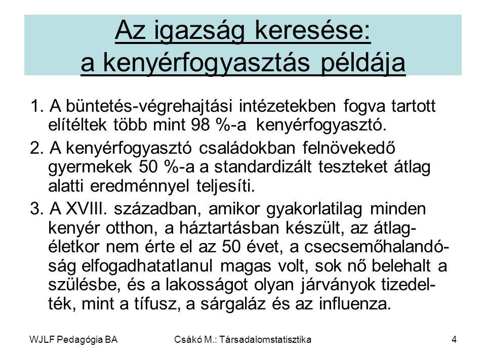 WJLF Pedagógia BACsákó M.: Társadalomstatisztika115 Gyakorlatok – 2.